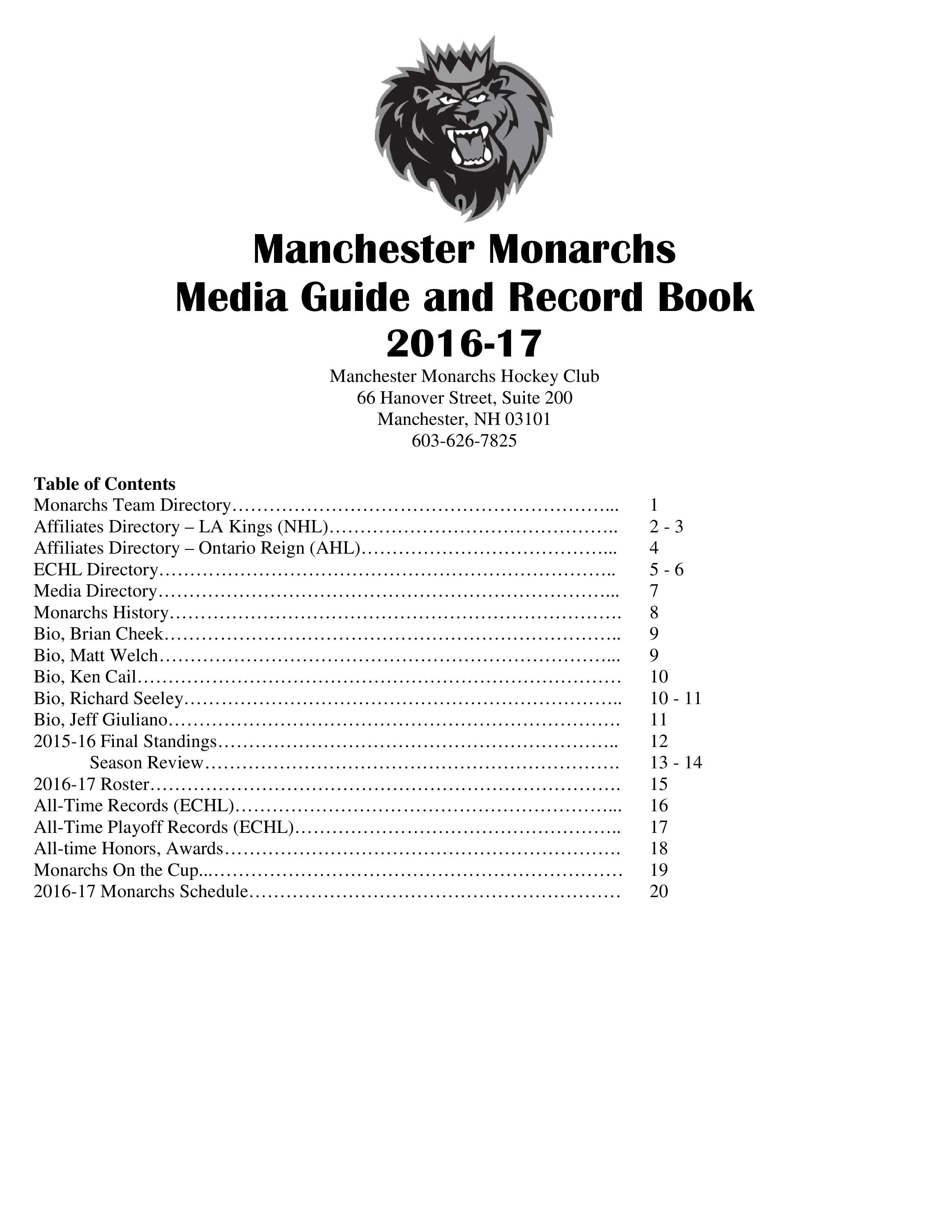 Manchester Monarchs: Media Guide